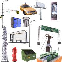 3D street set taxi stop sign