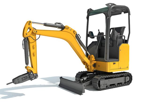 3D mini excavator breaker hammer