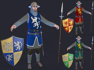 3D model spear man