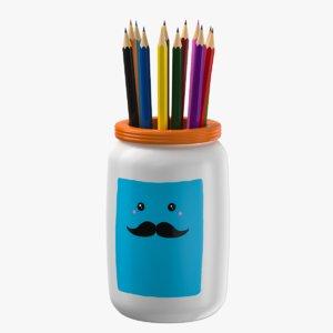 colored pencils holder jar 3D model