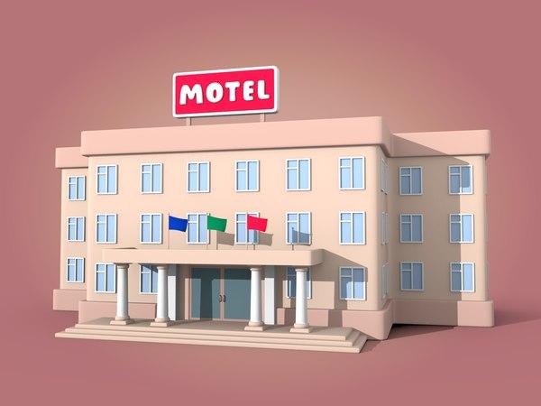 cartoon motel 3D model