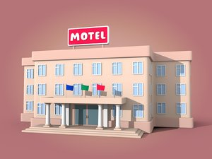 cartoon motel 3D model