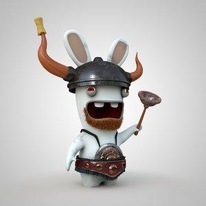 3D rabbit viking model