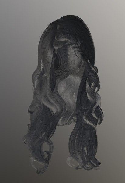 female hairstyle hair 3D