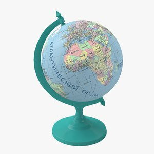 3D model globe political