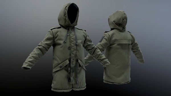 3D parka raincoat coat