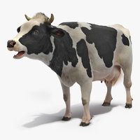 Animated Cow Mooing Rigged 3D Model