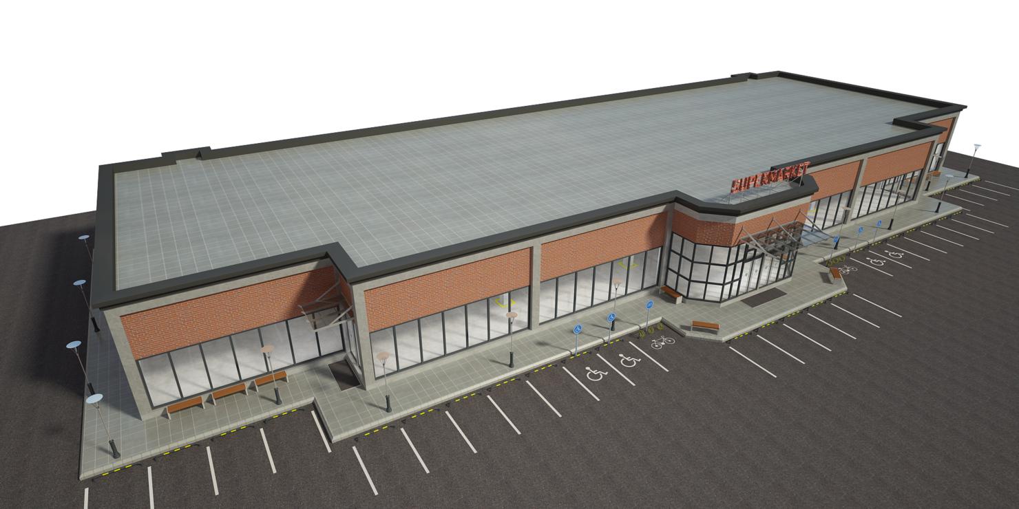 supermarket building interior 3D