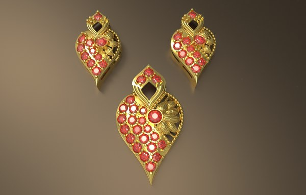indian style pendant gold silver model