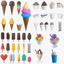 Ice cream packaging waffle cone cup balls mock up