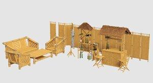 3D model bamboo bar set