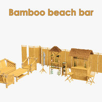 3D model bamboo bar set