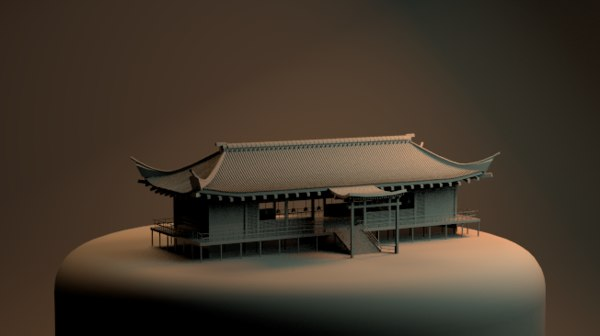 3D model chinese japanese japan temple