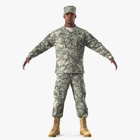 army black soldier uniform 3D model