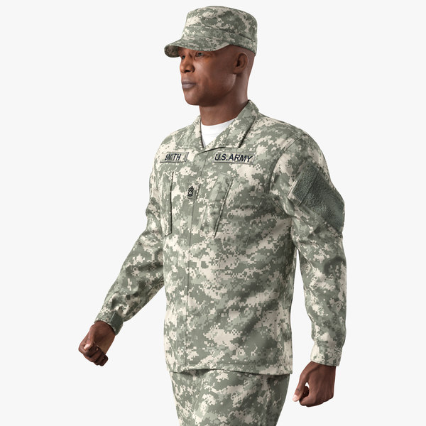 3D model army soldier marching pose