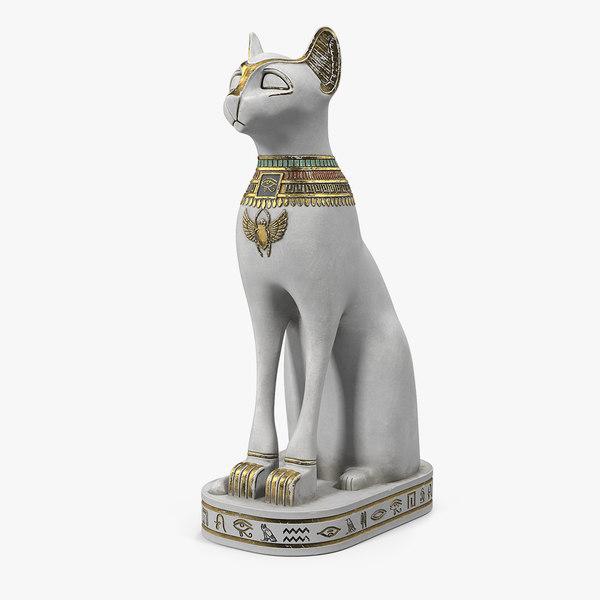 3D ancient egyptian cat statue