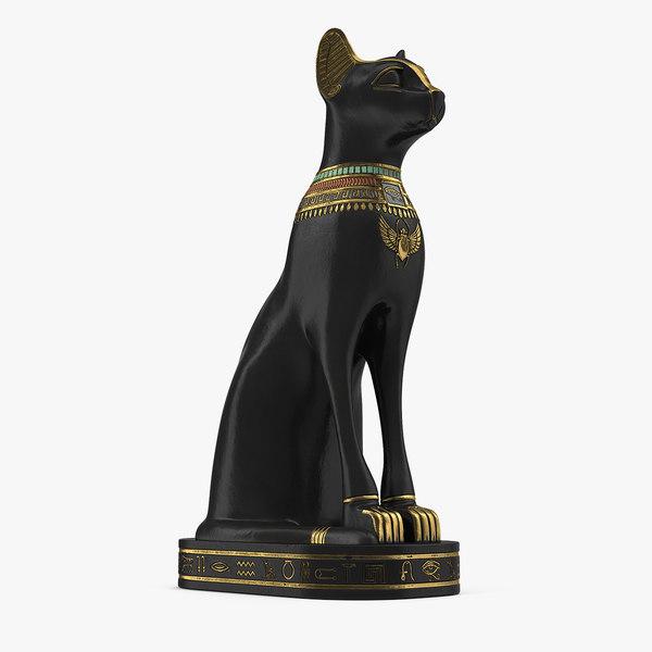 3D model egyptian cat statue black