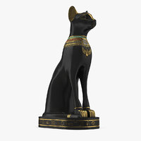 3D model egyptian cat statue black