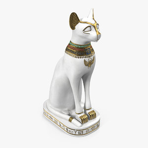 egyptian cat statue white 3D model
