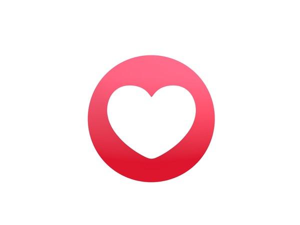 3D model facebook love reaction button