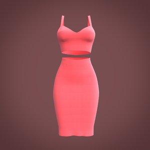 pencil skirt crop 3D model