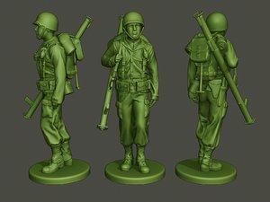 3D american soldier ww2 bazooka