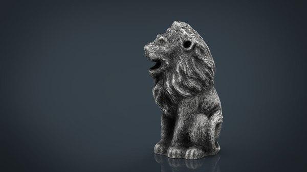 3D concrete leon statue model