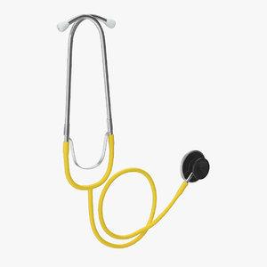 stethoscope 1 yellow 3D