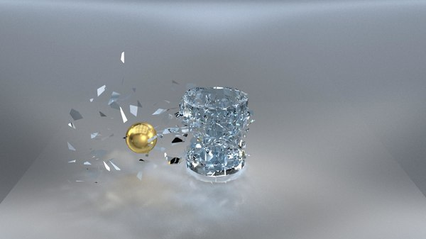 glass break animation 3D model