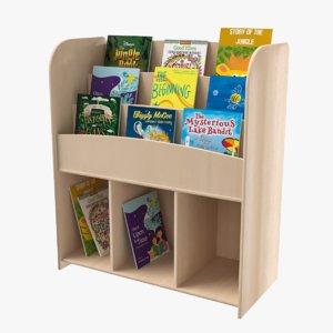 3D kids book shelf model