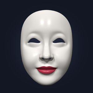 3D model asian theater mask
