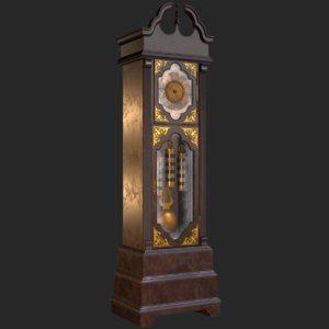 retro vintage grandfather clock 3D model