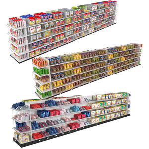 3D grocery store 3 shelves model