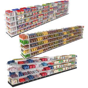 3D grocery store 3 shelves model