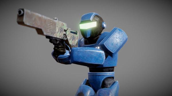 3D pbr robot soldier
