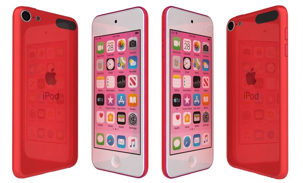 3D apple ipod touch red model