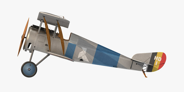 3D hanriot hd 1 fighter aircraft