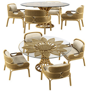 loop chair sunflower dining table model
