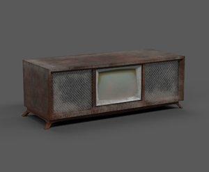 dusty antique tv 70 s 3D model
