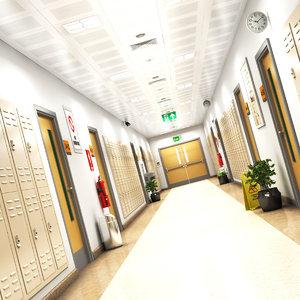 3D school hallway 2 model