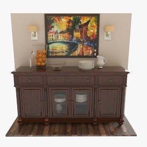 3D buffet cabinet