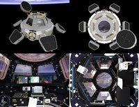 iss cupola interior exterior 3D model