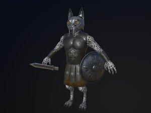 cat warrior character model