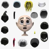 3D 16 cartoon hairs style model