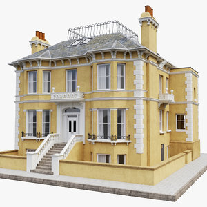 victorian villa facades building 3D model