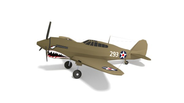 3D curtiss p-40 warhawk airplane