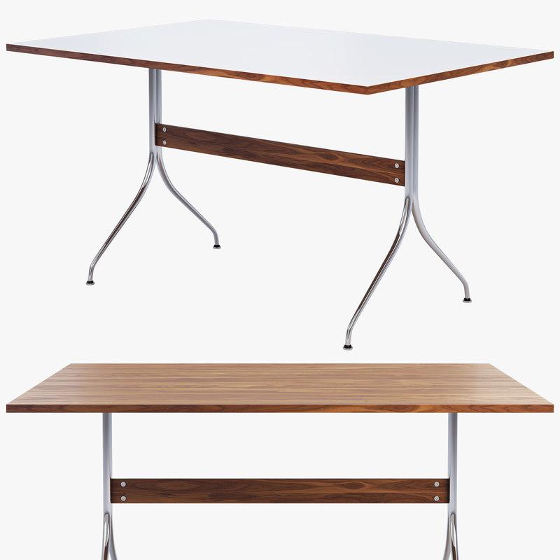 3D Nelson Swag Leg Rectangular Work Table