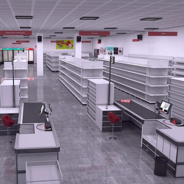 3D retail supermarket