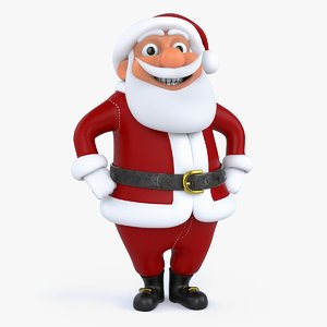 3D cartoon santa claus rigged model