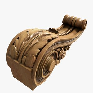 wood corbel decoration 3D model